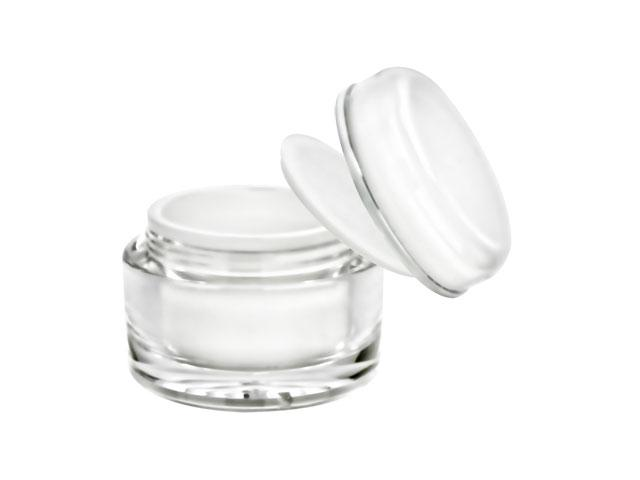 SNSET-2070-60ml ACRYLIC JAR with Lid, WHITE INNER CAP/BOWL, SILVER RIM 56mm Finish