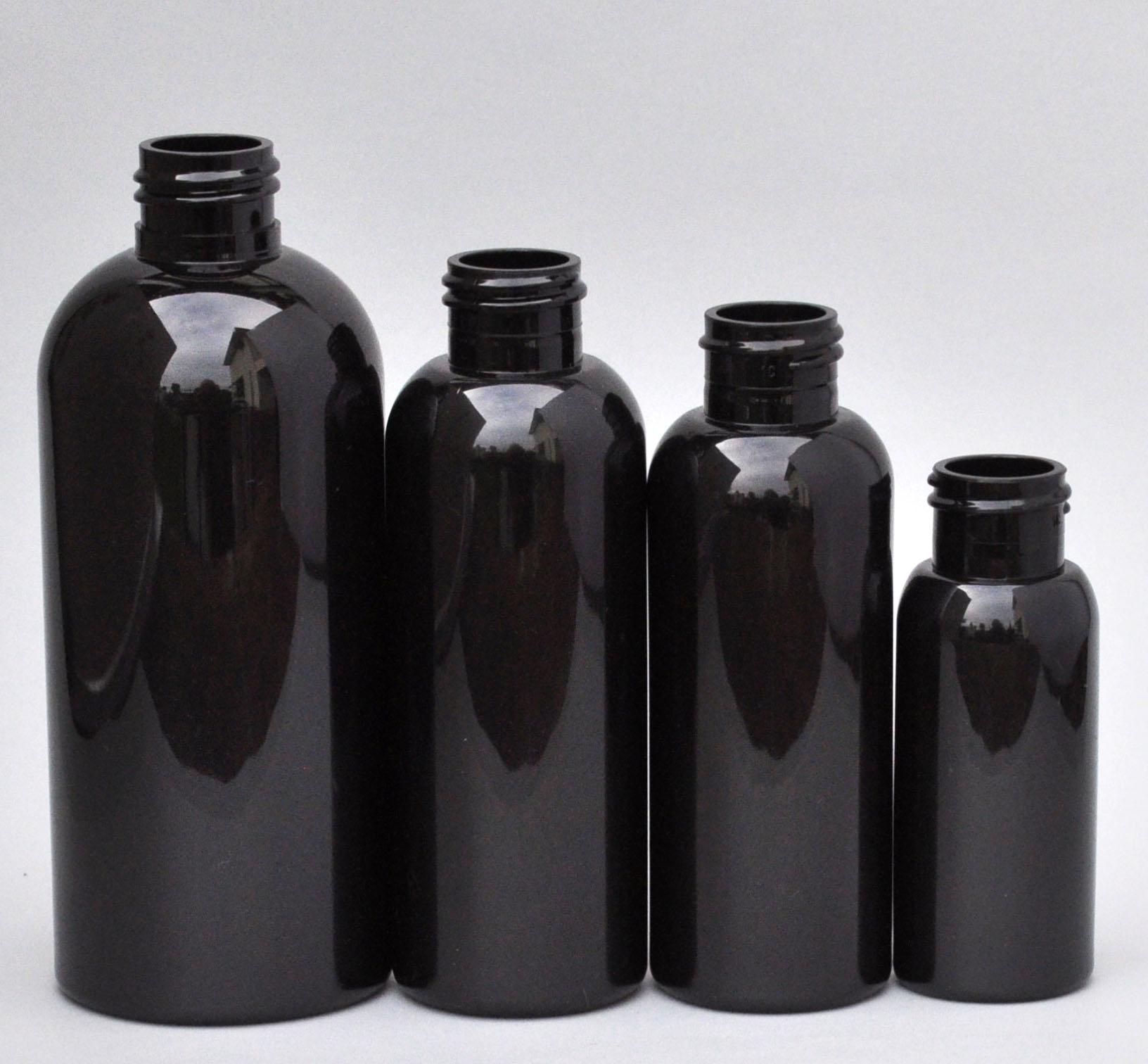 SNEP-250BPETB-250ml Black PET Boston Bottle with 24/410 Neck