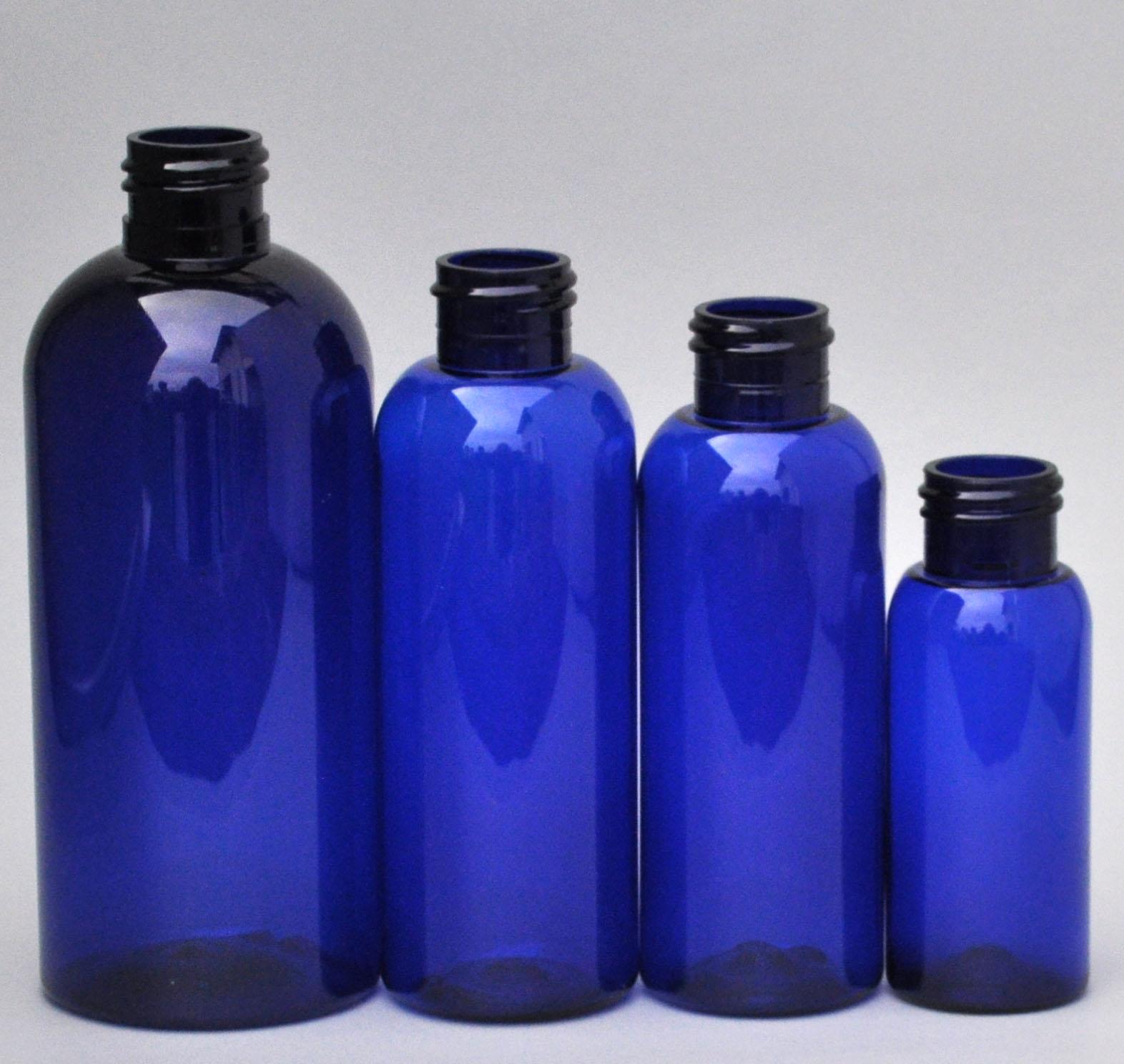 SNEP-100BPETCB-100ml Cobalt Blue PET Boston Bottle with 24/410 Neck