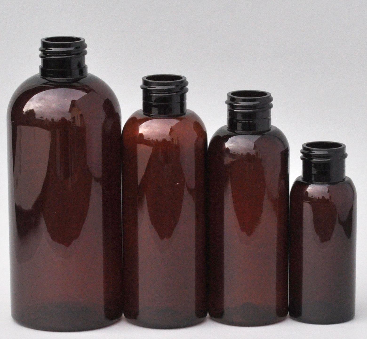 SNEP-250BPETA-250ml Amber PET Boston Bottle with 24/410 Neck