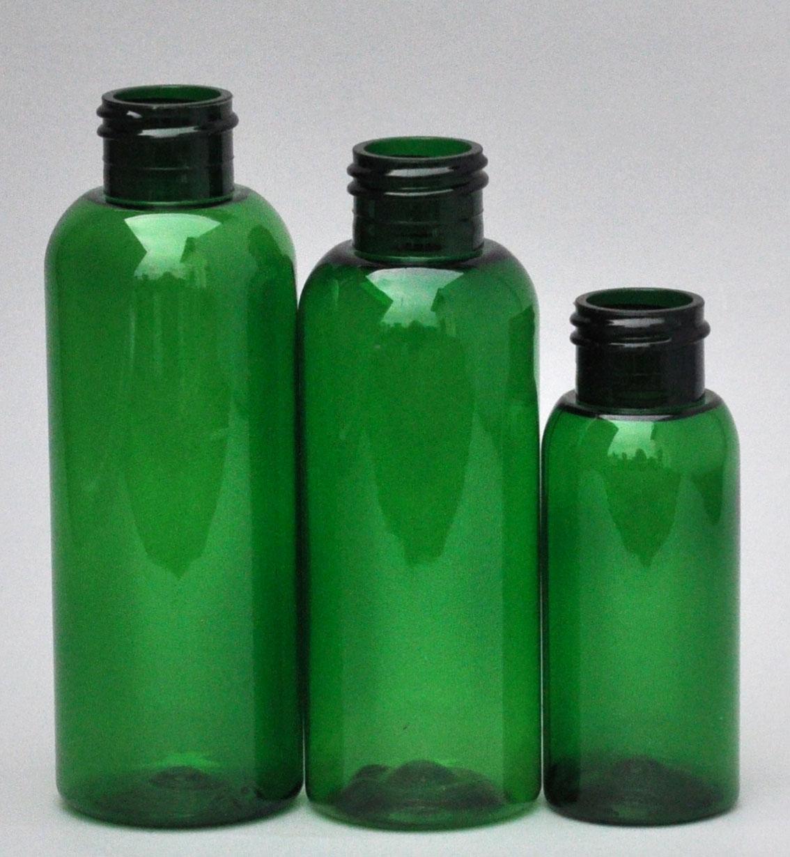 SNEP-125BPETG-125ml Green PET Boston Bottle with 24/410 Neck