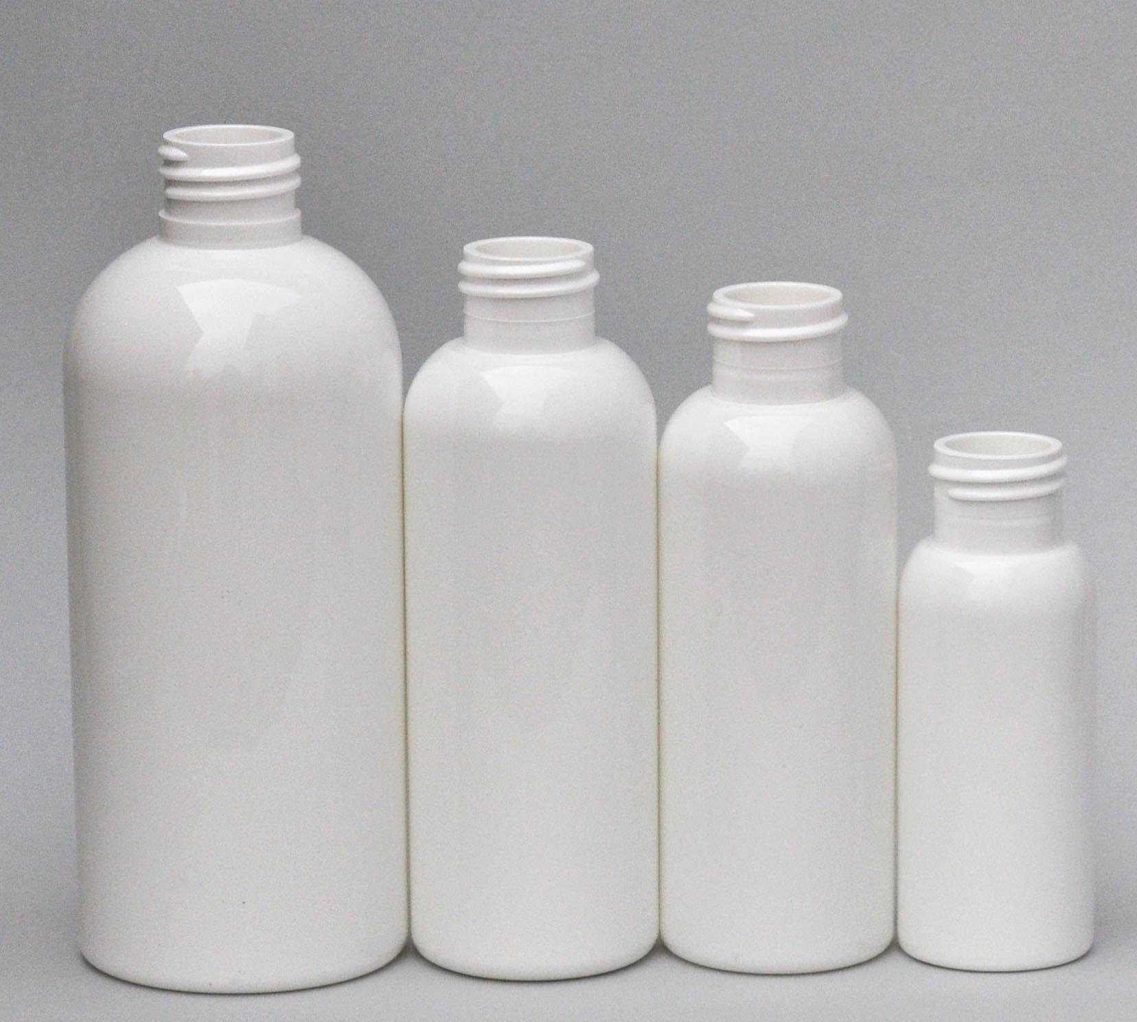 SNEP-100BPETW-100ml White PET Boston Bottle with 24/410 Neck