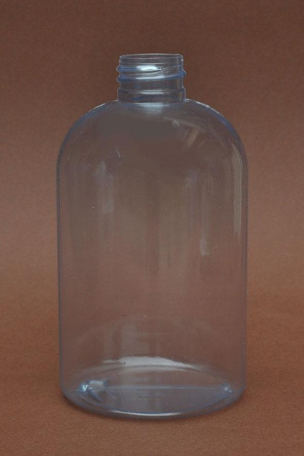 SNEP-500CLPETSB- 500ml Clear PVC Stocky Boston Bottle with 28/410 Neck