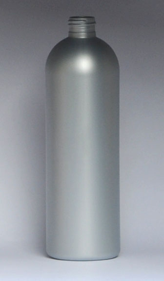 SNEP-28333-SILVER PLASTIC BOTTLE, 16 OZ. HDPE BULLET WITH A 24/410 FINISH