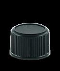 Black Screw Cap 28/410 Long Skirt Black Ribbed Wall Wedge Seal